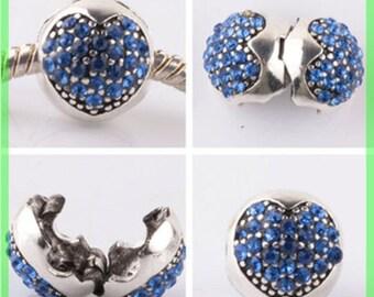 Pearl N960 clip stopper European blocker rhinestones for charms bracelet