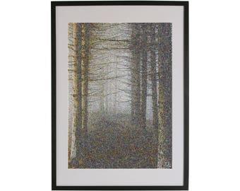Scary forest art print. High quality Scandinavian contemporary art piece