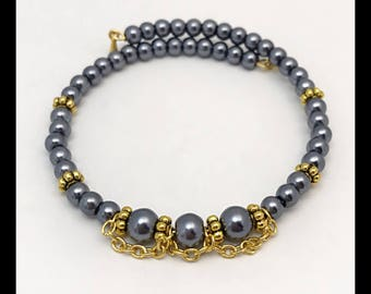 Bracelet anthracite memory glass beads