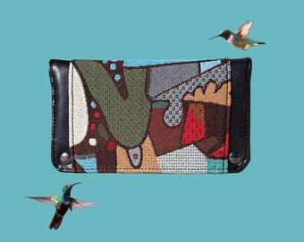 Great combination wallet, coin purse ethnic woman in inner tube recycled
