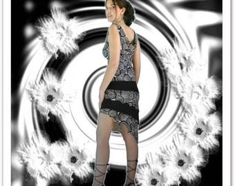"""Goldy"": asymmetrical black and grey Halter dress"