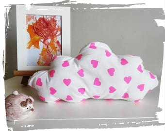Pink and white cloud pillow