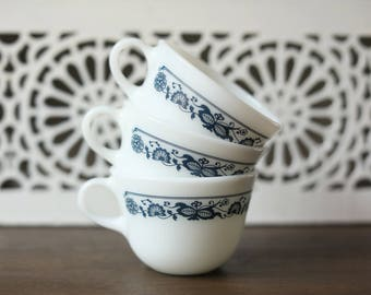 Vintage Pyrex Old Town Blue / Blue Onion Milk Glass Coffee Cups / Tea Cups (Set of 3) Corning