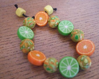 Elastic bracelet child citrus and mosaic polymer clay beads