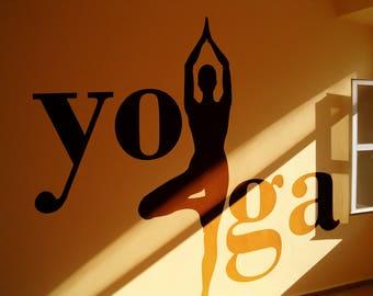Yoga - Tree position | Vinyl wall decal sticker | Meditation mural collection for wall decor | Namaste Yogi Hindu Spiritual
