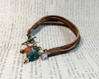 Leather and Antique Gold Bracelet with Gemstone and Glass Beads