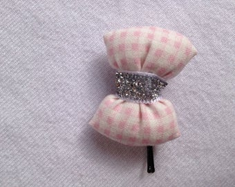 BARRETTE with knot CAPITONNE gingham fabric