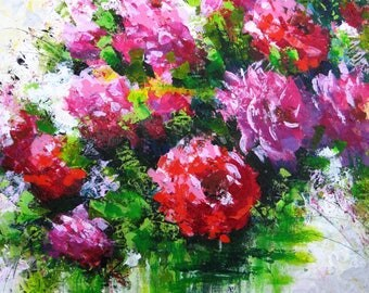 Abstract flower painting decor Palette knife painting canvas wall art Knife palette art flower Parents anniversary gift art painting decor