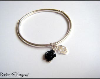Black/pink skull bracelet
