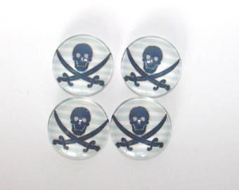 Set of 4 cabochon 18 mm pirate