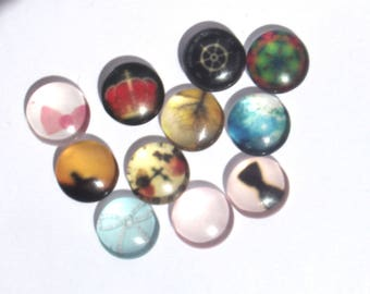 Set of 10 cabochon 12 mm + 1 free 05