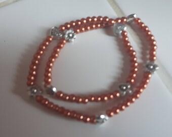 Double elastic beaded bracelet