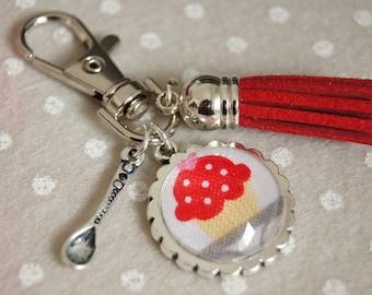 RED - PC021 CUPCAKE TREATS BAG CHARM KEY RING