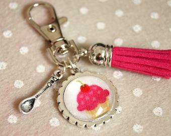 SWEET PINK ICING CUPCAKE BAG CHARM KEY RING