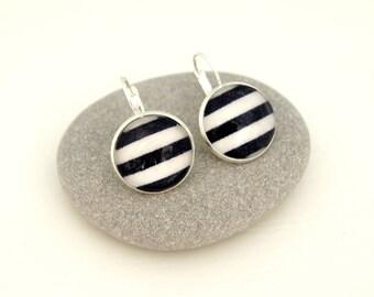 Stud Earrings - blue striped