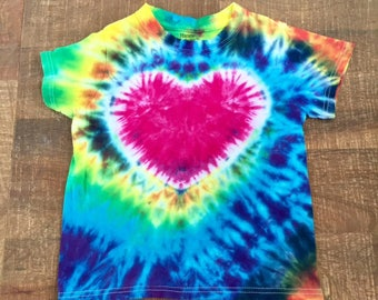 Rainbow Heart Tye Dye T-shirt Youth Sizes XS-L