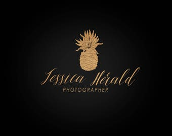 Pre-made Logo / watermark : pineapple gold handwritten photographer logo design -18