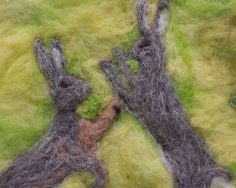 March hares - needle felted art picture