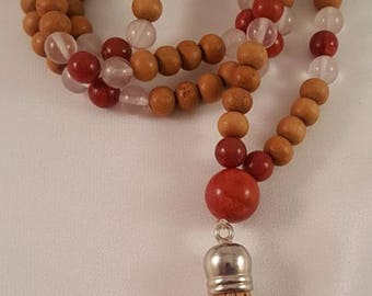 Mala necklace made of sandalwood, Rose Quartz and coral