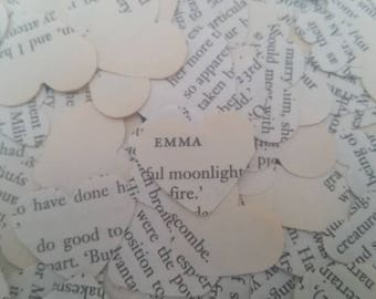 Emma Table Confetti/Jane Austen's Emma/Jane Austen Party/Heart table confetti/Literature wedding/Book party/High tea decor/Paper table decor