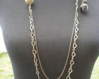 Elegant long necklace bronze