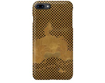 """iPhone case  """" Box for Square Calligraphy Paper (shikishi-bako) with a Bugaku Helmet on Checkered Ground"""""""