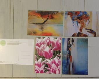 Set of 4 postcards 10.5 x 14.8 cm (5 designs available and other options)