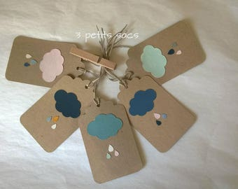Clouds and raindrops, 5 kraft labels