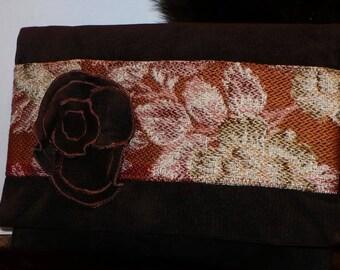 Chocolate brown velvet suede clutch bag