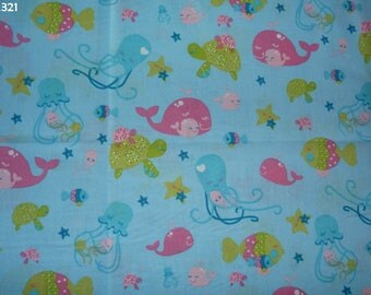 Fabric C321 whale, turtle, jellyfish coupon 35x50cm
