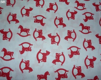 Fabric C581 horse rocking red coupon 50x50cm