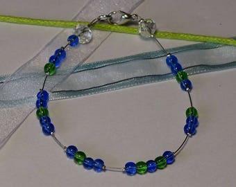 Blue green glass beaded bracelet