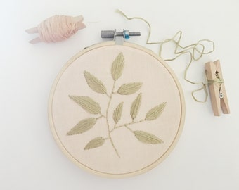 Sage Green Twig on Light Pink Cotton Embroidery Hoop Art