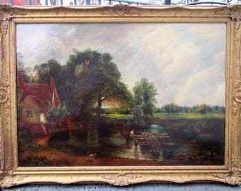 antique great looking 1880s period John Constable copy of museum oil painting on canvas ornate frame