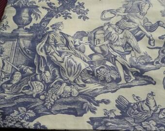 toile(de jouy) white pillow cover purple bluish 40/45 cms
