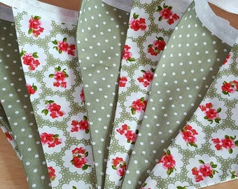 Sage green floral and spot bunting