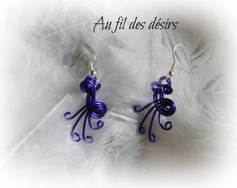 Purple colored aluminum Wire Earrings