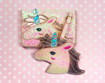Unicorn Glitter Pink Passport Holder Cover Babies My First Travel Tag ID Holder Wallet Case Gift For Baby Toddler Skinny Dip