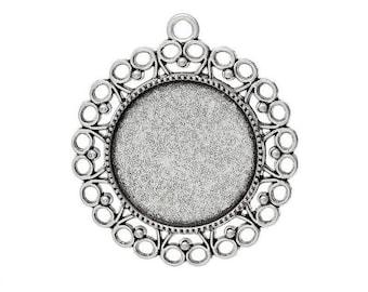 medium silver round cabochon 43 x 39 mm