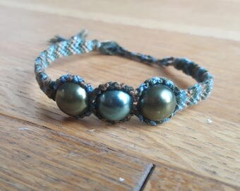 Bead and Knot Bracelet- Brown, Green, Blue