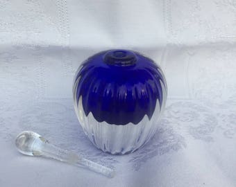 Blue Hand-blown Heavy Glass Perfume Essential Oil Bottle, Signed by Artist, 1988.