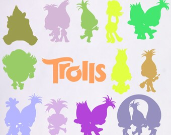 trolls svg, disney svg,, trolls dxf, trolls birthday, trolls birthday svg, trolls silhouette, silouhette art, trolls svg files