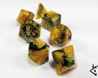 """D&D Dice Set Gold Black """"Cursed Gold"""" DnD dice Polyhedral dice RPG dice Dungeons and Dragons dice set, Pathfinder, critical role roll d20"""