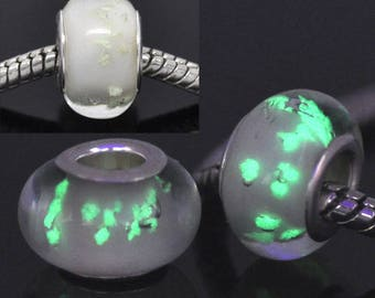 European Lampwork Glass Bead bright white