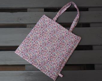 Tote bag reversible black denim and flowers