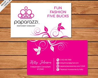 Paparazzi Business Card, Custom Paparazzi Accessories Business Card, Fast Free Personalization, Printable Business Card PZ06