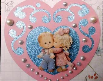 couple 3D card Morehead cutout heart 4