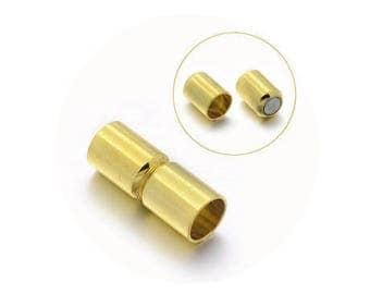 A magnetic clasp, brass, 16 x 6 mm, diameter 5 mm
