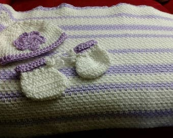 Baby Girl Hat, Blanket & Bootie Set