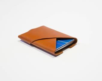 Leather Card holder Card Wallet Oblique Wallet | Tan